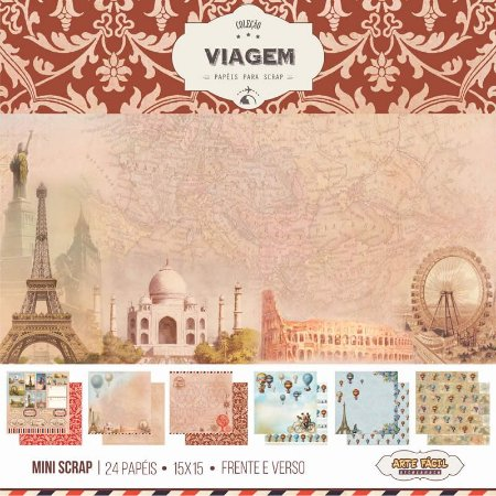 Bloco de papéis para scrapbook 15x15 cm - Viagem - Arte Fácil