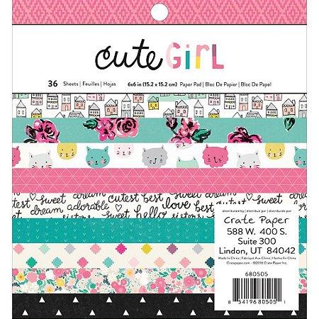 Bloco de papéis para scrapbook 15x15 Cute Girl - Crate Paper