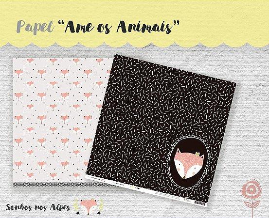 Papel para scrapbook - 30x30 Coleção Sonhos nos Alpes - Ame os Animais - Juju Scrapbook