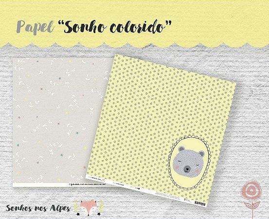 Papel para scrapbook - 30x30 Coleção Sonhos nos Alpes - Sonho Colorido - Juju Scrapbook