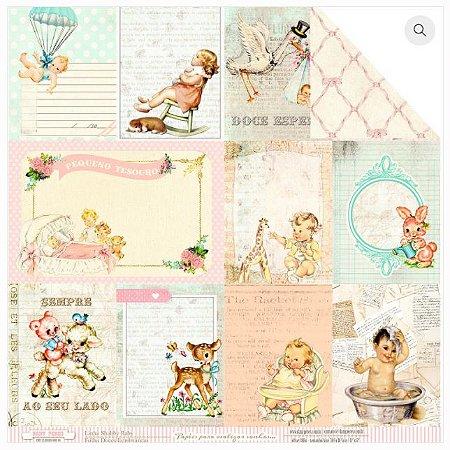 Papel scrapbook 30x30 Doces Lembranças - Bebê Menina- Shabby Baby - Dany Peres