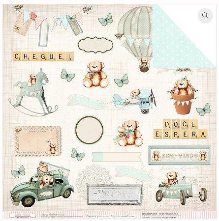 Papel scrapbook 30x30 Entrega Especial - Bebê Menino - Shabby Baby - Dany Peres