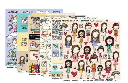 Kit 6 papéis scrapbook Linha Over The Rainbow - Goodies