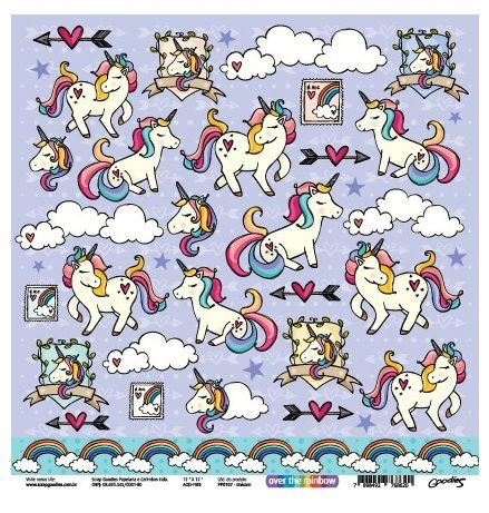 Papel scrapbook 30x30 Unicorn - Unicórnio - Linha Over The Rainbow - Goodies