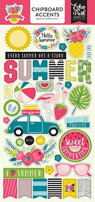 Adesivo Chipboard Summer Fun15x30 Echo Park
