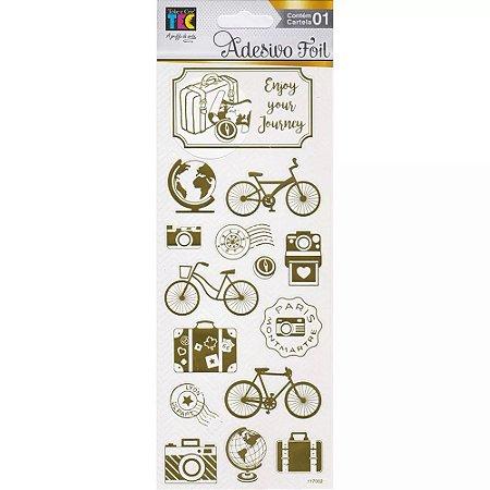 Adesivos Foil dourado Férias - Toke e Crie