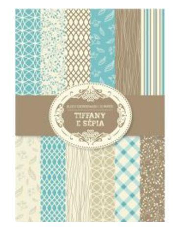 Bloco de papéis coordenados scrapbook Tiffany e Sépia - Arte Fácil