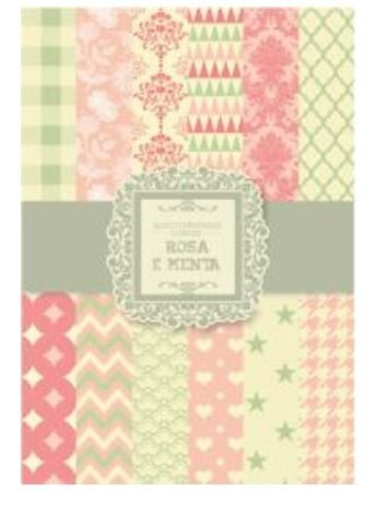 Bloco de papéis coordenados scrapbook Rosa e Menta - Arte Fácil