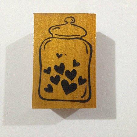 Carimbo de madeira Pote com corações - Arte Fácil