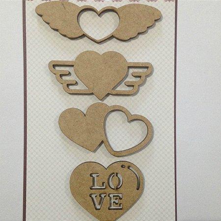Apliques em MDF Corações com Asas - Arte Fácil