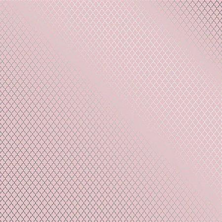 Papel Scrapbook - Metalizado - Marroquino Rosa e Prata - Toke e Crie