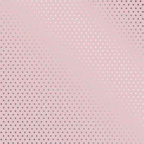 Papel Scrapbook - Metalizado - Poá Rosa e Prata - Toke e Crie