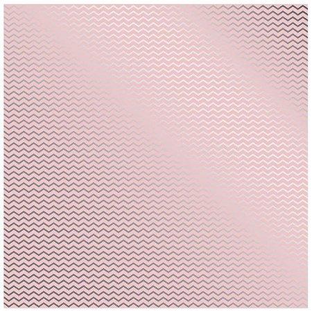 Papel Scrapbook - Metalizado - Chevron Rosa e Prata - Toke e Crie