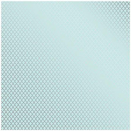 Papel Scrapbook - Metalizado - Marroquino Azul / Verde água - Toke e Crie