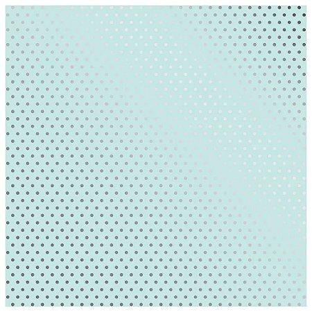 Papel Scrapbook - Metalizado - Poá Azul / Verde água - Toke e Crie