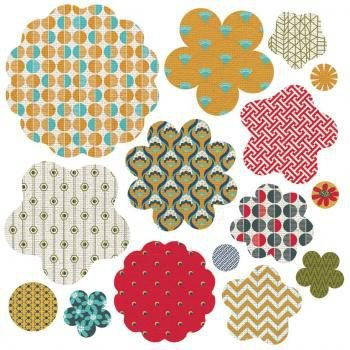 Die-cut Paper and Canvas Flowers - PB & J - Basic Grey