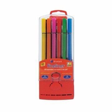 Kit canetas hidrográficas - 0.4 mm - YES (12 canetas + estojo vermelho)
