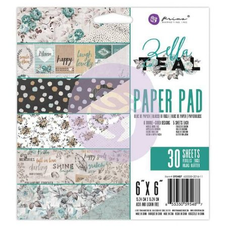 Bloco de papéis 15x15 Zella Teal - Prima Marketing