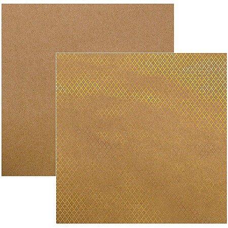 Papel Scrapbook - Marroquino Dourado Kraft - Toke e Crie