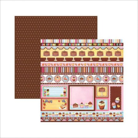 Papel scrapbook 30x30 Dupla Face Doceria Barrinhas TEC