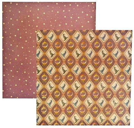 Papel scrapbook 30x30 Dupla Face Pequeno Bruxo Chapéus com Glitter  TEC