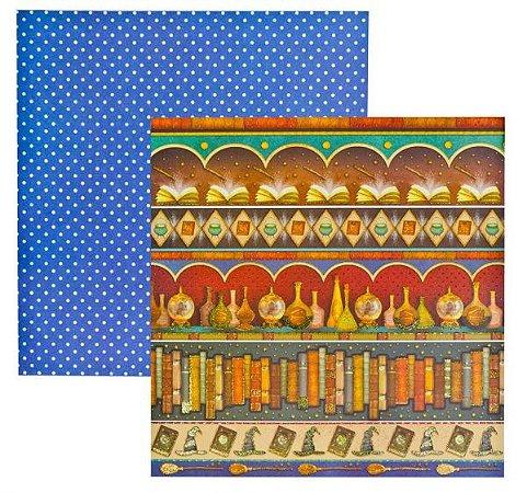 Papel scrapbook 30x30 Dupla Face Pequeno Bruxo Barrinhas com Glitter TEC