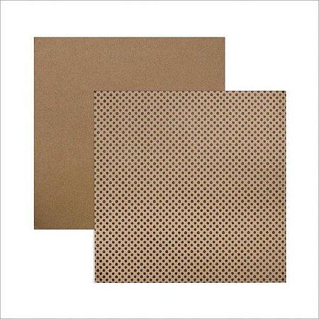 Papel scrapbook 30x30 Face Simples Poá Rabiscos  Kraft TEC