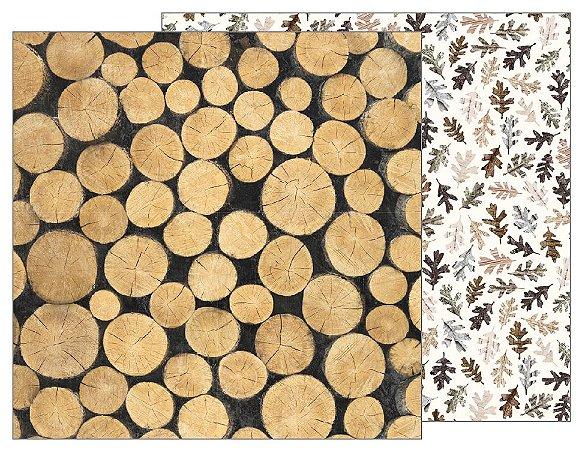Papel Scrapbook 30x30 Dupla Face - Jen Hadfield Homemade - Logs  - Pebbles