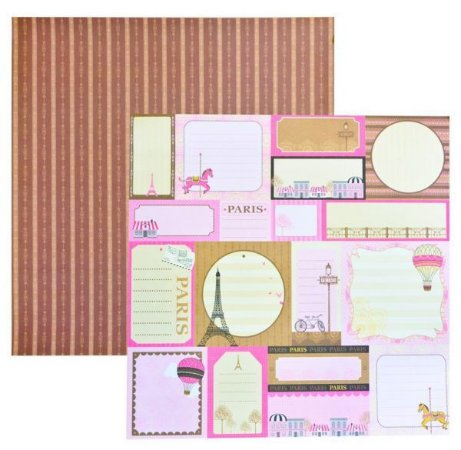 Papel scrapbook 30x30 Dupla Face Paris Tags TEC