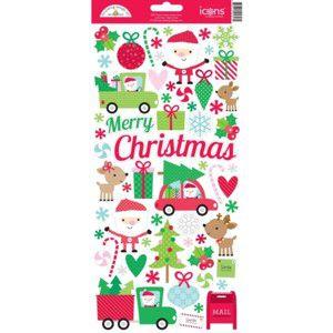 Adesivos Natal Here Comes Santa Claus - Doodlebug