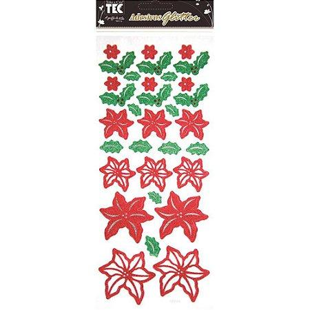 Adesivos Glitter Flores de Natal - Toke e Crie