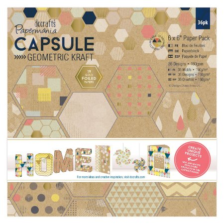 Bloco scrapbook 15x15 Geometric Kraft com FOIL - Docrafts