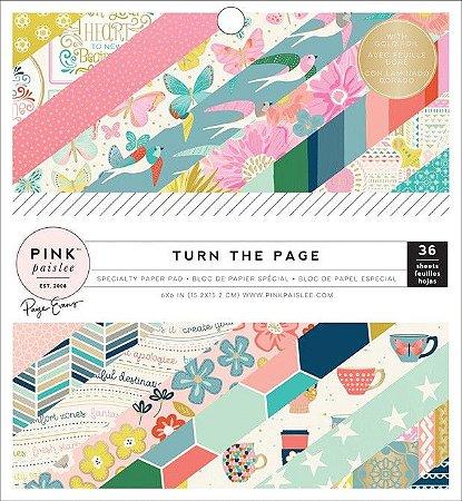 Bloco de papel para scrapbook 15x15 com FOIL Turn the Page - Pink Paislee