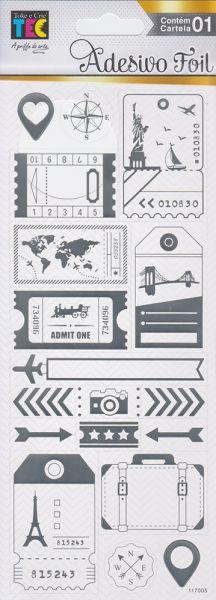 Adesivo Foil Prateado Volta ao Mundo - TEC