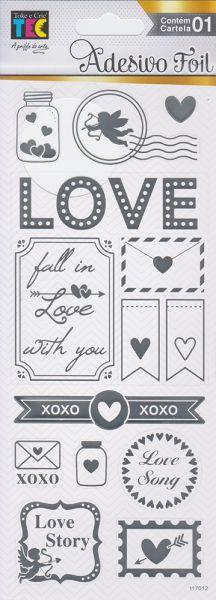 Adesivo Foil Prateado Detalhes de Amor - TEC