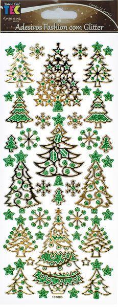 Adesivo Fashion com Glitter Árvores de Natal - TEC