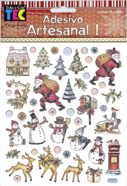 Adesivo Artesanal I Papai Noel e Renas TEC