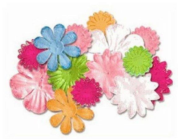 Flores de tecido com glitter 12 peças - Lucy Bird- Adorable Flowers -  Imaginisce