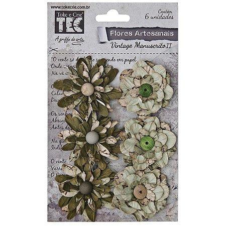 Flores Artesanais Vintage Manuscrito II Pistache - Toke e Crie