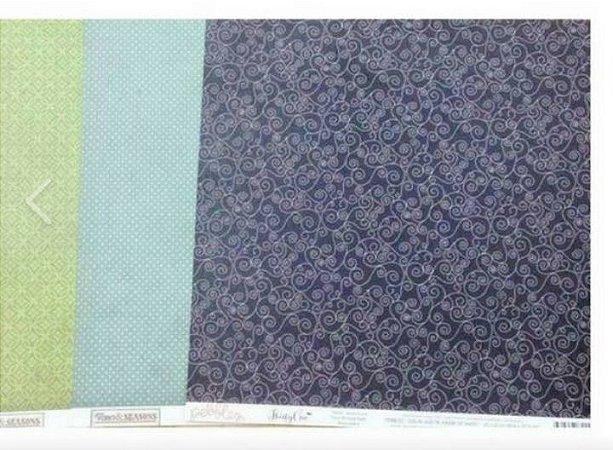 Kit 3 papéis de scrapbook 30x30 Neutros - Echo Park e Pebbles