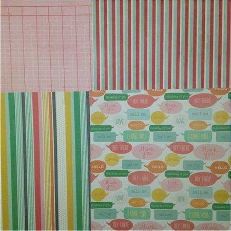 Kit 4 papéis de scrapbook 30x30 From me to you - Pebbles