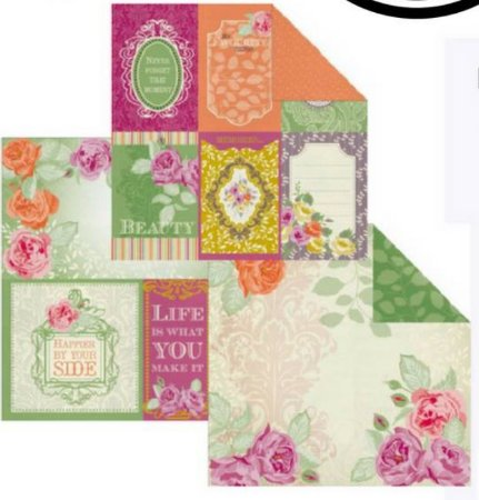 Kit 3 Papéis de scrapbook Flores e Tags - Kaisercraft