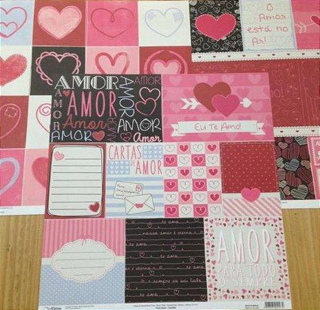 Kit 3 Papéis de scrapbook Amor - Oficina do Papel
