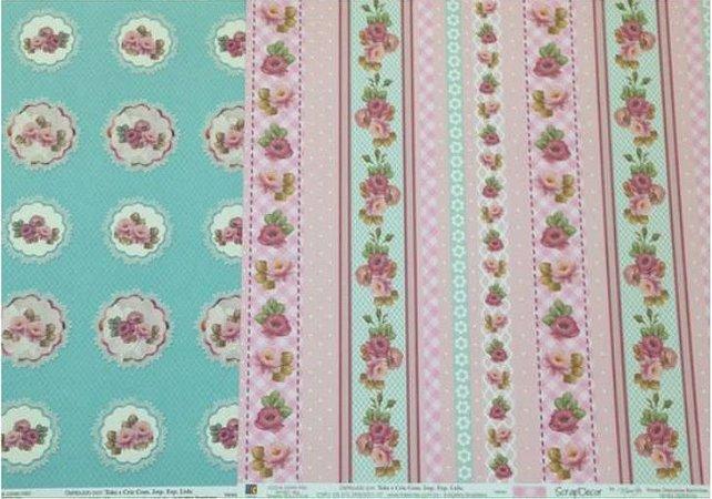 Kit 2 Papéis de scrapbook Florais - TEC
