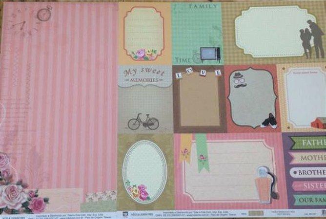 Kit 2 Papéis de scrapbook Família - TEC