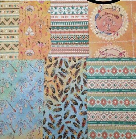 Kit 7 Papéis de scrapbook 30x30 Tribal - Arte Fácil