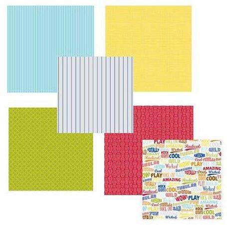 Kit 6 Papéis de scrapbook 30x30 Menino - Junior - American Crafts