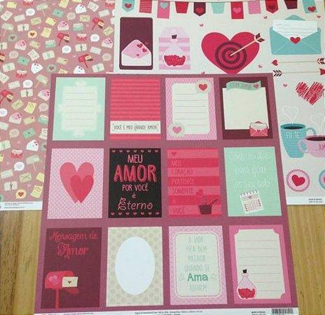 Kit 3 Papéis de scrapbook 30x30 Amor Perfeito - Oficina do Papel