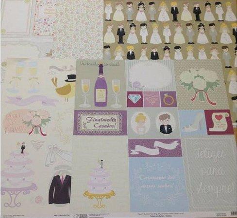 Kit 5 Papéis de scrapbook 30x30 Casamento - Oficina do Papel