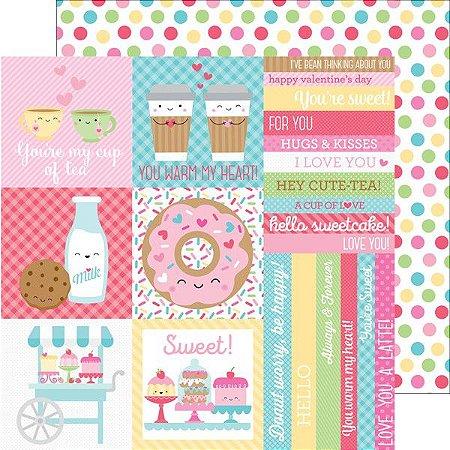 Papel de scrapbook 30x30 - Cream & Sugar - Cake Sprinkles - Doodlebug